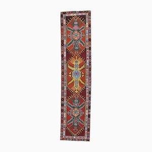 3x12 Türkischer Vintage Oushak Hand-Knotted Läufer aus Roter Wolle