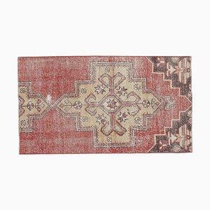 Tappeto Oushak vintage 2x4 turchese fatto a mano in lana