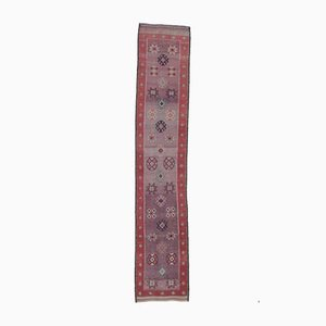 3x14 Vintage Turkish Oushak Hand-Knotted Red & Purple Runner