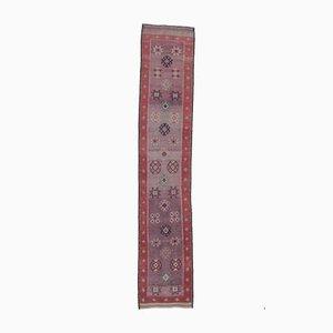 Handgeknüpfter türkischer Vintage Oushak 3x14 Läufer in Rot & Lila