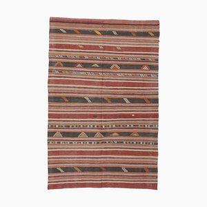 Flacher 5x7 Türkischer Vintage Kilim Ouschak Teppich aus handgewebter Wolle