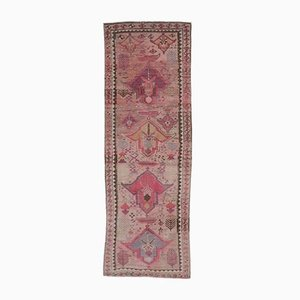 3x8 Vintage Turkish Oushak Hand-Knotted Pink Wool Runner