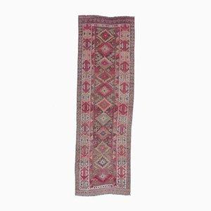 3x8 Türkischer Vintage Oushak Hand-Knotted Läufer aus Rosa Wolle