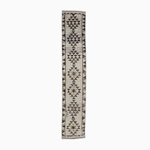 2x12 türkischer Vintage Oushak Teppich in Beige & Braun aus Wolle