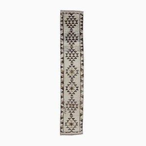 2x12 Vintage Turkish Oushak Handmade Beige & Brown Wool Rug