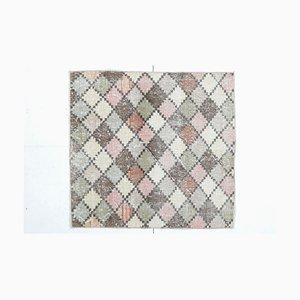 3x3 quadratischer handgemachter türkischer Vintage Oushak Wollteppich oder Fußmatte