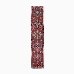 Tappeto Oushak vintage in lana rossa 3x13 a mano, Turchia