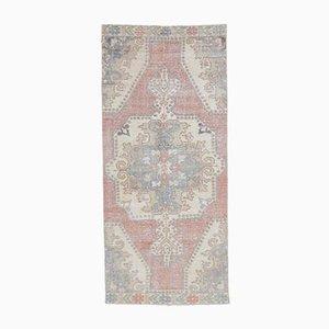 3x7 Handgeknüpfter orientalischer Mid-Century Oushak Teppich aus roter Wolle