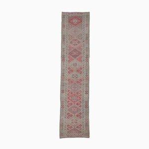 3x12 Türkischer Vintage Oushak Hand-Knotted Läufer aus Rosa Wolle