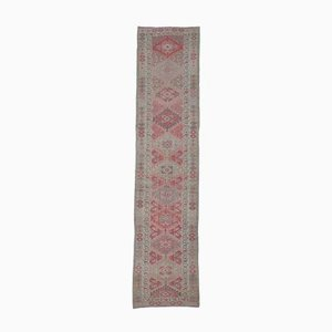 3x12 Vintage Turkish Oushak Hand-Knotted Pink Wool Runner