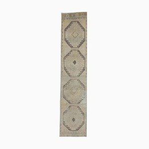 Türkischer Vintage Oushak Handgewebter 3x13 Kamel Brauner Wollteppich