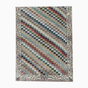 Handgemachter türkiser Vintage 4x5 Oushak Karomuster aus Wolle