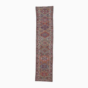 3x12 Vintage Turkish Oushak Hand-Knotted Runner in Orange Wool
