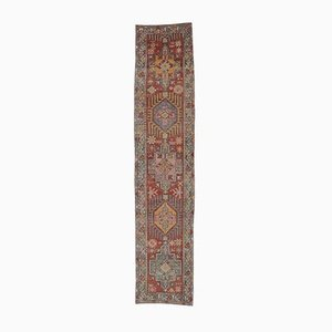 3x13 Vintage Turkish Oushak Hand-Knotted Runner in Red Wool