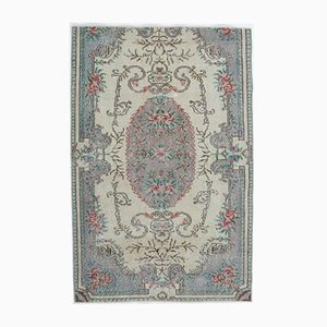 4x6 Vintage Middle East Oushak Handmade Blue Relic Wool Carpet