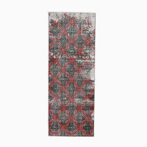 3x7 Vintage Turkish Oushak Handmade Wool Runner Rug in Red