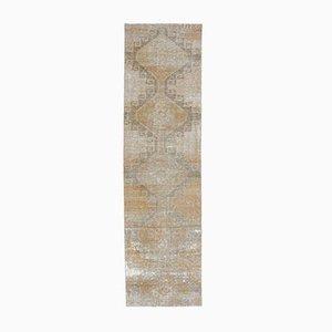 Türkischer Vintage Oushak Handgewebter 3x11 Wollstoff Teppich