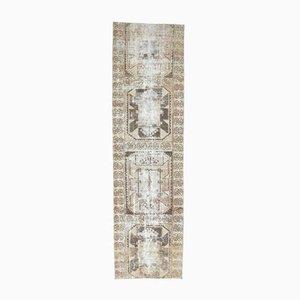 3x12 Antiker Türkisch Oushak Handgeknüpfter Teppich aus Neutraler Wolle