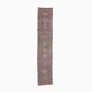 3x13 Vintage Turkish Oushak Hand-Knotted Pink Wool Runner