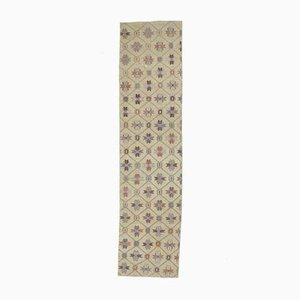 Tappeto Oushak vintage in lana fatto a mano 3x10 beige, beige