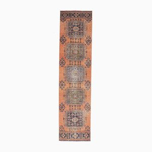 Türkischer Vintage Oushak Handgewebter 3x12 Woll-Läufer in Orange