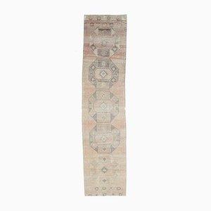 3x12 Türkischer Vintage Oushak handgewebter Teppich aus neutralem Wollstoff