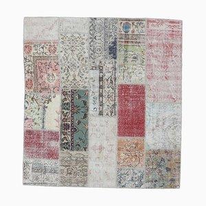 6x6 Vintage Turkish Oushak Handmade Wool Patchwork Rug