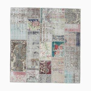 Tappeto Oushak vintage fatto a mano con patchwork di lana 6x6, Turchia