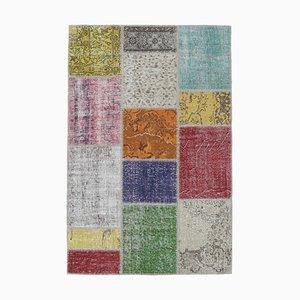 Türkischer Vintage Oushak Handgewebter 4 × 6 Patchwork Teppich aus Wolle