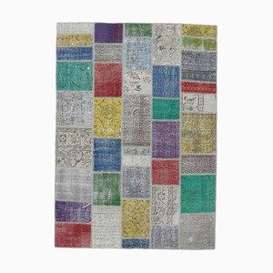 6x8 Vintage Turkish Oushak Handmade Wool Patchwork Rug