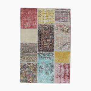 Tappeto Oushak 4x6 vintage fatto a mano con patchwork di lana fatto a mano, Turchia
