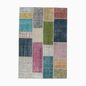Tappeto Oushak vintage fatto a mano con patchwork di lana 5x7