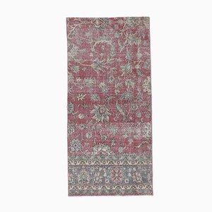 3x6 türkischer Vintage Oushak Teppich aus handgewebter Fuschia Wolle