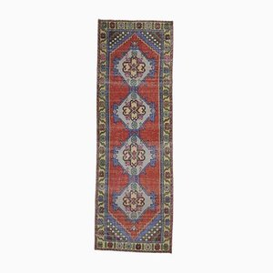 3x9 Vintage Turkish Oushak Handmade Wool Rug in Red