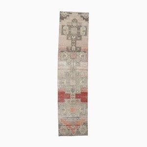 3x11 Antiker Türkischer Handmade Läufer aus Roter Wolle von Oushak