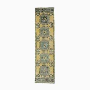 Tappeto Oushak vintage 3x12 fatto a mano in lana gialla calda, Turchia