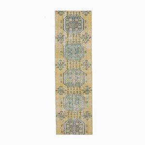 3x9 Handgemachter türkischer Vintage Oushak Teppich aus gelber Wolle