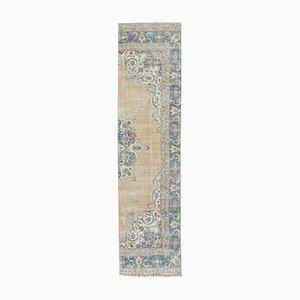 3x10 Türkischer Vintage Oushak Handgeknüpfter Halbläufer Teppich aus Wolle