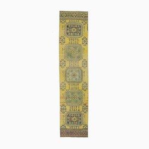 3x12 Vintage Turkish Oushak Runner Handmade in Hot Yellow Wool