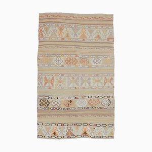 Tappeto 5x8 vintage fatto a mano in lana di Oushak, Kilim, Turchia