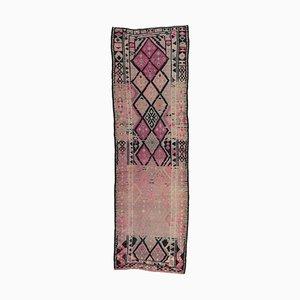 3x13 Türkischer Vintage Oushak Teppich aus Wolle in Rosa
