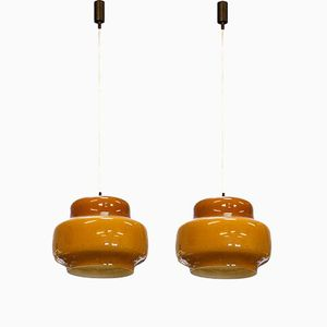 Vintage Italian Coloured Glass Pendant Lamps from Venini, Set of 2