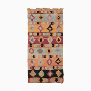 4x9 Vintage Turkish Oushak Handmade Wool Kilim Area Rug