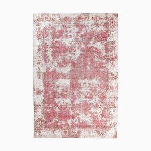 Handgeknüpfter handgewebter roter türkisfarbener 7x10 Ouschak Teppich aus roter Wolle mit floralem Wollbezug