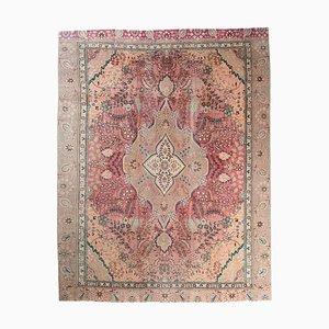 9x12 Vintage Turkish Oushak Handmade Wool Carpet in Red