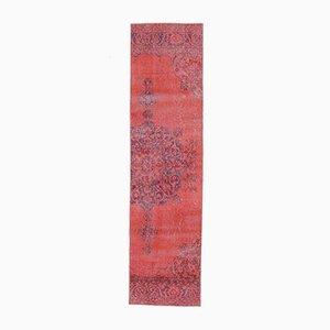 3x11 OVERDYED RED Vintage Turkish Runner Oushak Handmade Wool