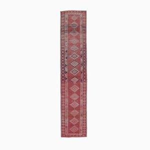 3x13 RED Vintage Turkish Oushak Runner Hand-Knotted Wool