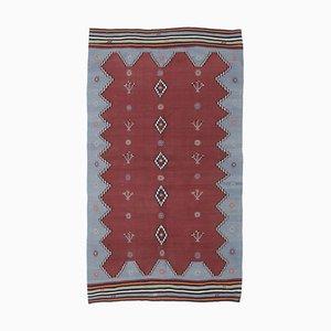 5x9 Vintage Turkish Oushak Handmade Gray Wool Kilim Area Rug