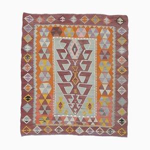 6x7 Vintage Turkish Oushak Handmade Wool Kilim Area Rug