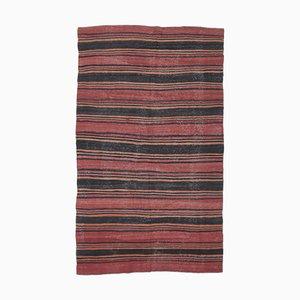 Handgeknüpfter türkischer Vintage 6x9 Oushak Kelim Teppich aus roter Wolle